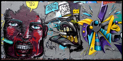 By MONSIEUR PLUME, DARK ELIXIR, NAWIE (Thias (-)) Tags: terrain streetart paris wall painting graffiti mural belleville spray urbanart painter graff aerosol bombing spraycanart laforge plume pgc thias photograff frenchgraff nawie darkelixir photograffcollectif lakommune monsieurplume