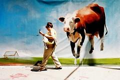 Flying Animals, New York City (ho_hokus) Tags: nyc newyorkcity usa newyork art cow construction mural phone manhattan streetphotography pedestrian olympus 35mmfilm stylus publicart epic stylusepic 2010 rectorstreet flyinganimals fujisuperia200 olympusmjuii ny2010 caitlinhurd