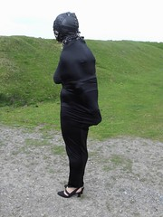 ENCASED AND LEFT (Miss Sandra Bond) Tags: long dress bondage tight encasement hobble hobbleskirt hobbledress