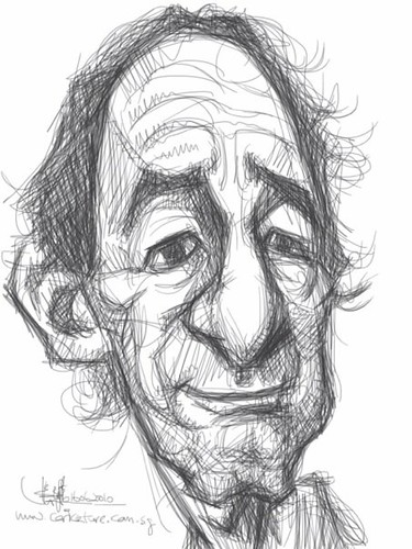sketch study 3 of Harry Shearer on iPad