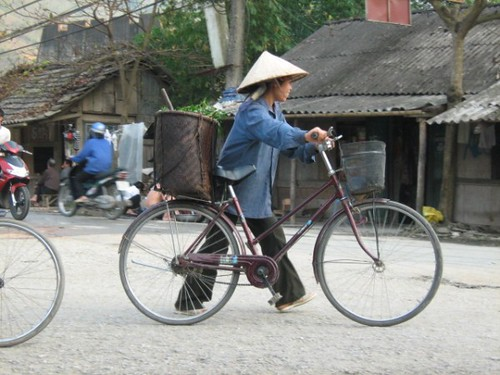 Man with bicycle, Muong Lay, Vietnam