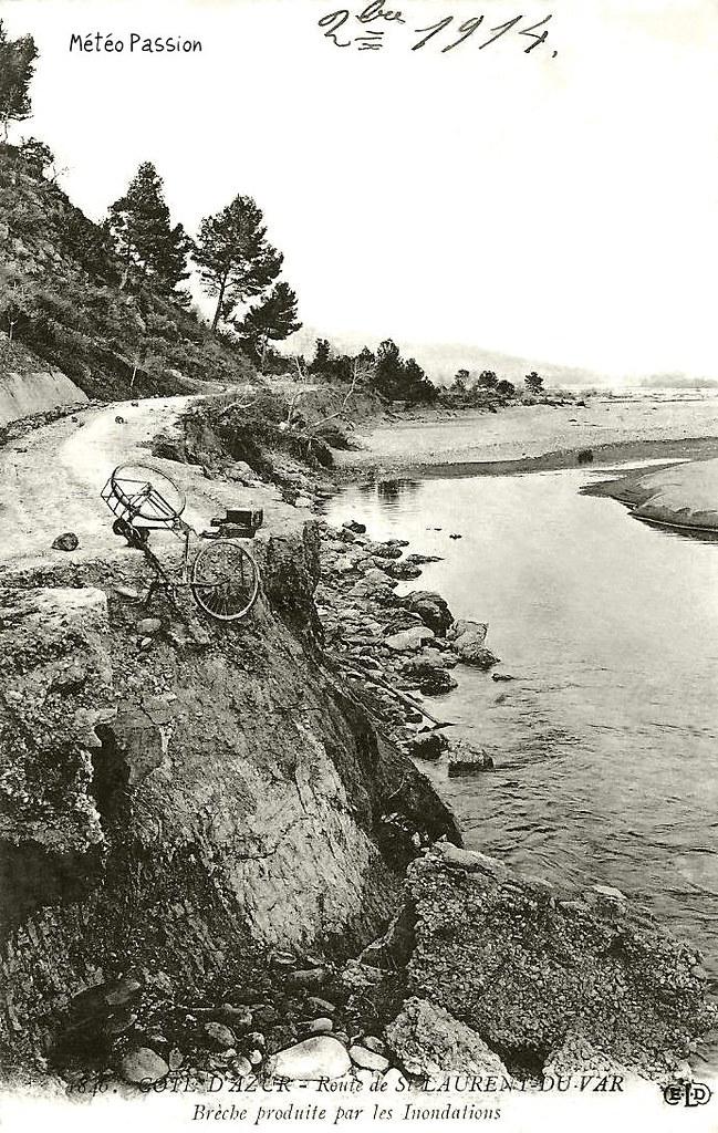 dégâts des crues et du mauvais temps de fin octobre 1914 sur une route près de Saint-laurent-du-Var