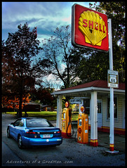 My car in front of the classic Soulsby's Service gas station on Route 66 in Illinois (Greg - AdventuresofaGoodMan.com) Tags: road trip usa building history car america us illinois route66 pumps shell roadtrip gas americana servicestation motherroad mtolive soulsby nikond80 mainstreetofamerica greggoodman adventuresofagoodman