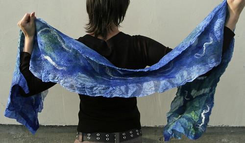 silk scarf, nuno felted, cobalt blue
