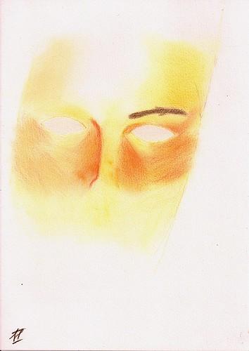 Swimming trunk boy portrait blending colors 1th sketch