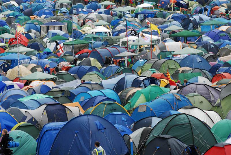 Blue green tents