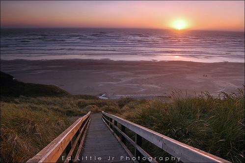 Beach Stairs - Sunset @ Newport, Oregon