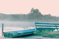 morning mist Rip Van Winkle Lake, Tannersville (Ari Hahn) Tags: pink wet water tilt soe scavengerhunt twtmesh370718 waterbwet