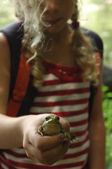 Sarah is holding a prince of a frog