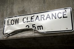 damaged Low Clearance sign