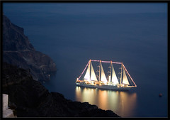 Ghost Ship (otrocalpe) Tags: reflection night boat ship ghost santorini greece grecia thira fira otrocalpe wowiekazowie diamondclassphotographer flickrdiamond