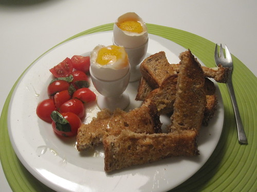 soft-boiled eggs, soldiers, tomato-basil salad