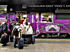Subterranean Trips. Tourists in transit  (Margnac) Tags: paris france station train canon eos contemporaryart digitalart passengers transportation 5d transports psychedelic jeanpaul sncf mkii voyageurs margnac photographeplasticien