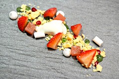 Macerated Strawberries, Black Pepper Marshmellows, Mint Jelly, Shortbread Soil, Saint Pierre
