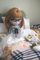 maxine's day off (JennWrenn) Tags: camera doll blythe rement teaset maxine cassetteplayer breakfastinbed pdaubrena luckyblythemagazine