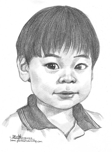 Boy portrait in pencil