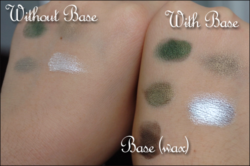 color swatch with base and without
