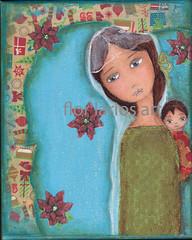 flor de pascua (Flor Larios) Tags: christmas original boy baby holiday girl madonna mixedmediacollage florlariosart