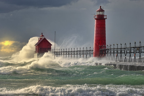 """The Storm"" Grand Haven Lighthouse , Grand Haven Michigan"
