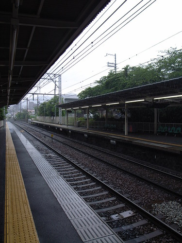 Station in the rain