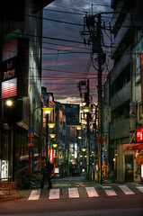 Tokyo street after sunset (The Other Martin Tenbones) Tags: street sunset japan clouds 50mm tokyo  400d p1f1