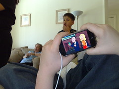 Patrick showing me the Family Guy on his iPhone