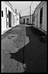 street (A12Bxl) Tags: street houses shadow blackandwhite bw italy sunlight abandoned contrast analog 35mm soleil noiretblanc lumire maisons empty south nb ombre southern scanned contraste lonely cracks rue puglia deserted italie contour sud verlassen abandonn fissures pouilles dsert