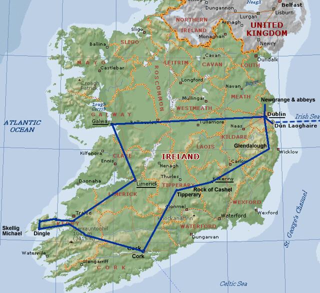 ireland trip map