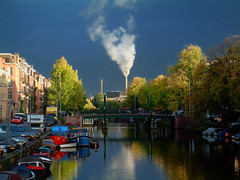 Indian summer in Amsterdam (Hans Heemsbergen) Tags: autumn chimney amsterdam smoke herfst indiansummer stadsarchief schoorsteen greatphotographers goldenphotographer heemsbergen top20blue scenicsnotjustlandscapes