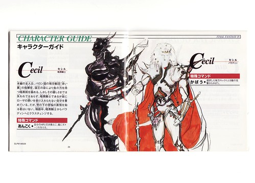Final Fantasy IV manual (Dark Knight Cecil and Paladin Cecil)