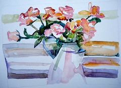 Flowers, by Catie (Dona Mincia) Tags: flowers roses art watercolor painting paper stripes study jar charlesreid