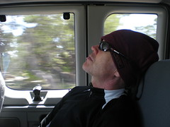 Barry Naps on Shuttle Ride Back