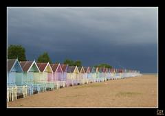 Lightning strikes (Wendelius) Tags: uk sea sky beach clouds island sand hut beachhut lightning essex
