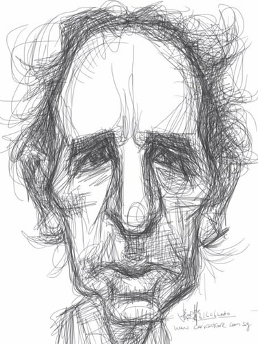 sketch study 1 of Harry Shearer on iPad