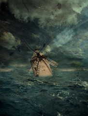 Náufrago (A_Kardek) Tags: água azul photoshop mar nuvens retrô velho moinho imagem criação medo cs4