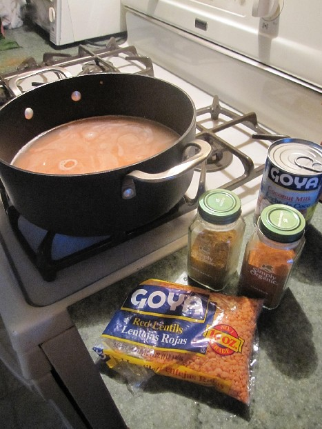 Red Lentils Cooking