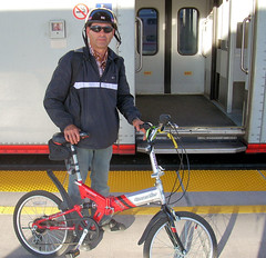 Javier and his folding bicycle