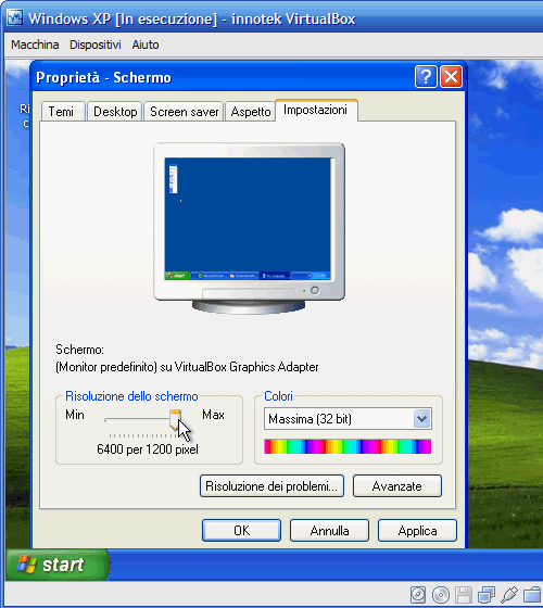 VirtualBox - Guest Additions - Windows XP: regolazione risoluzione video