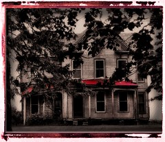 haunted (K2D2vaca) Tags: trees red house leaves dark illinois searchthebest decay ruin haunted il decayed hauntedhouse centralillinois welcomeall flickrsbest photology superhearts blackribbonbeauty k2d2vaca