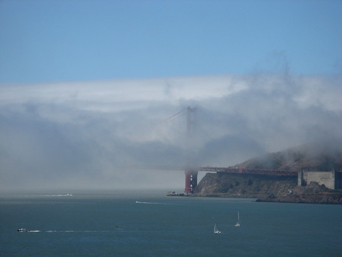 The Golden Gate Bridge, far in the distance