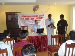 Bro. Abraham, the CSC Asia Director, sharing with the Indian film teams.