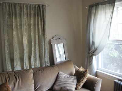 Corner with two curtains