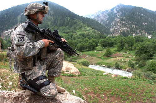 A U.S. soldier on guard in Afganistan