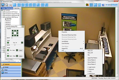 exacqVision 4.1 Feature - PTZ Menu control 1