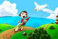 Ela não é Poulain (Samu Sama) Tags: ocean light sea sky cloud lighthouse green beach de gnome colorful o dwarf seagull gull le amelie destiny fabulous destin destino gnomo amélie fabuloso poulain damélie fabuleux
