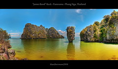 James Bond Rock - Panorama - Phang Nga, Thailand (HDR) (farbspiel) Tags: ocean travel blue sea vacation panorama orange holiday seascape colour green tourism beach water yellow photoshop movie landscape geotagged thailand james see amazing nikon asia asien southeastasia wasser paradise colours magic wideangle bluesky lagoon gelb blended bond stitching photomerge mystical colourful grn blau nikkor landschaft stitched dri blauerhimmel hdr