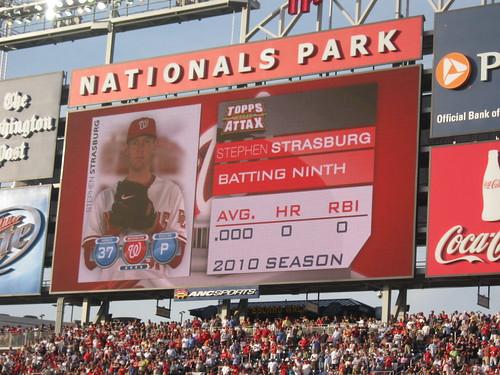 Strasburg lineup card at Nationals Park