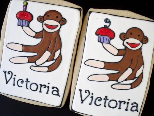 Sock monkey Birthday cupcake Cookies