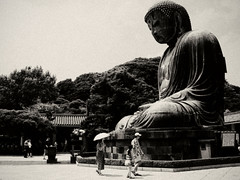 LIKE AN OLD POSTCARD:  (motocchio) Tags: summer bw monochrome japan temple buddha kamakura july 2007  greatbuddha  alienskinexposure likeanoldpostcard