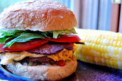 vegan bacon cheeseburger (amy_elr) Tags: bacon vegan nikon cheeseburger gluttony d40